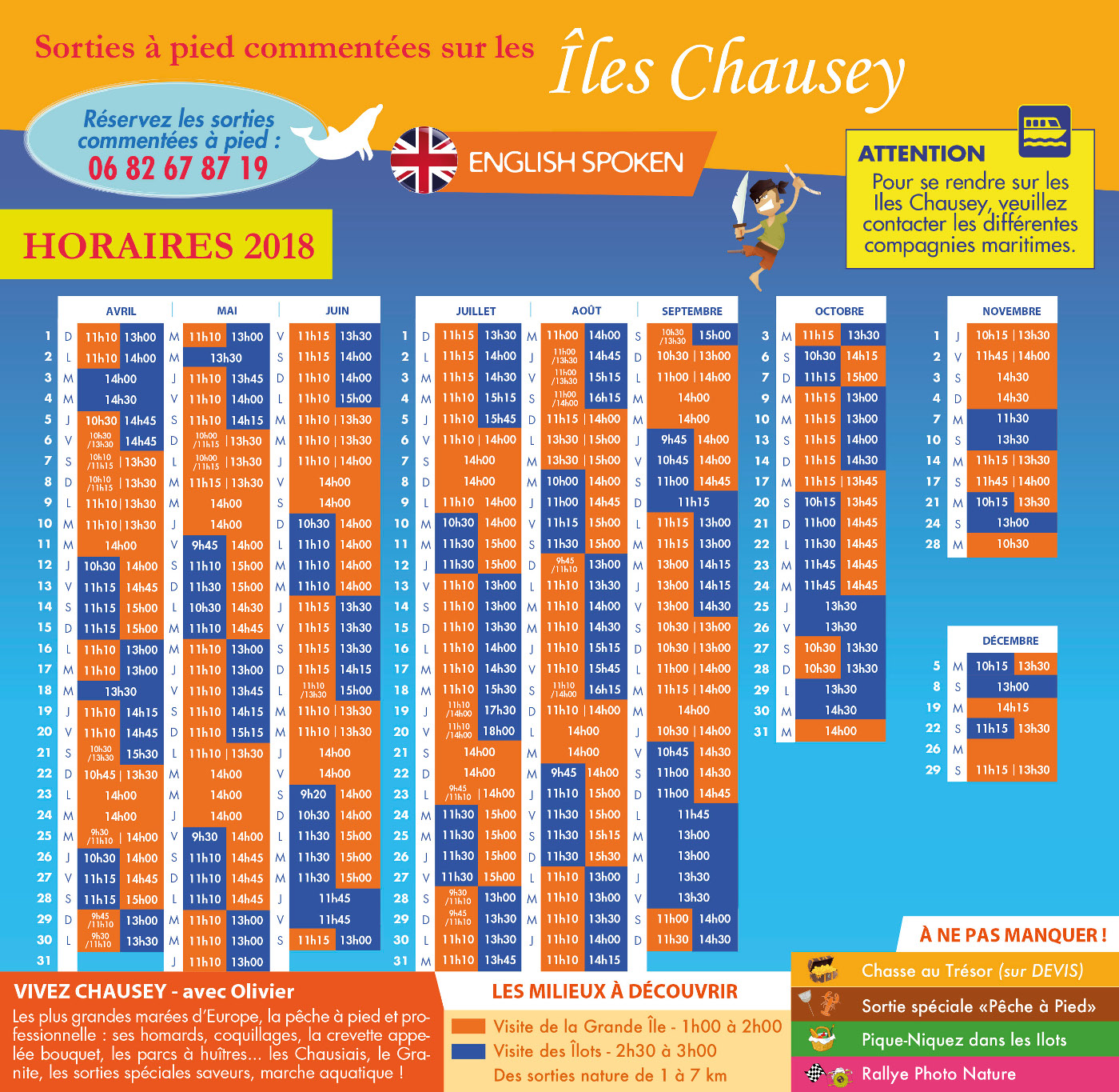 Chausey - Horaires 2018